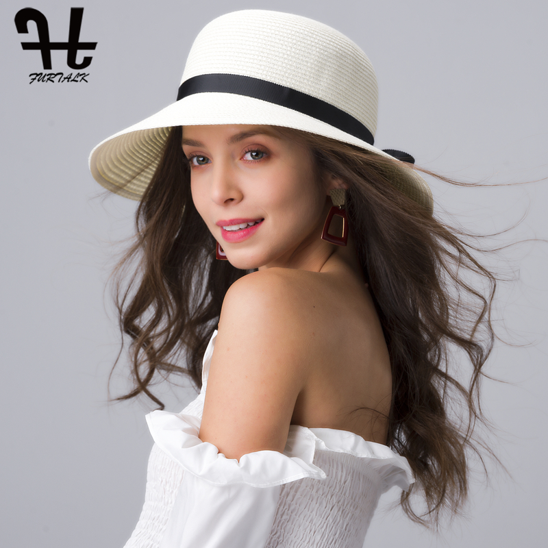 FURTALK Summer Straw Hat For Women Beach Sun Hat Wide Brim Travel Panama Bucket Hat Female Sun Protection Cap For Female 2019