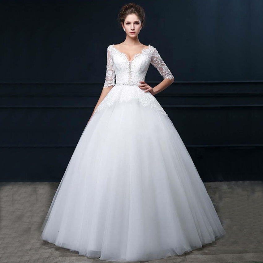 Vnaix W2092 Elegant Vestido De Noiva V Neck Half Sleeves Beaded Belt Floor Length Sexy Lace Ball Gown Wedding Dresses 2016