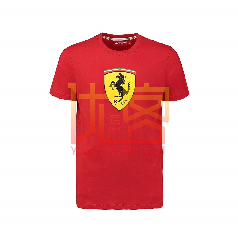 Ferrari Red Classic Shield Tee Shirt Classic Style T-shirt winner tee Men Brand Clothing