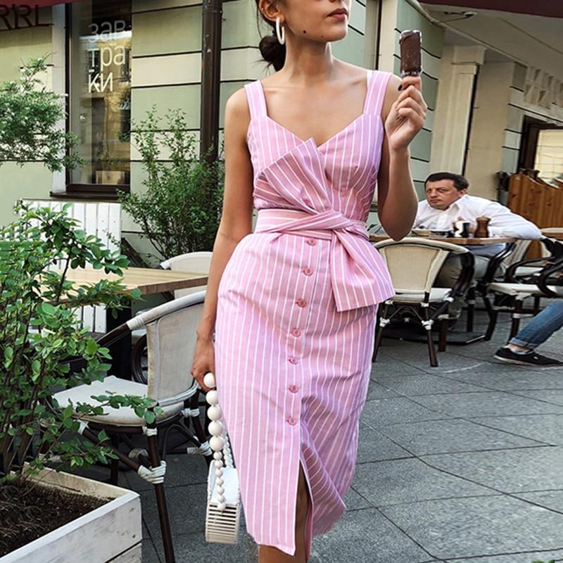 Женский сарафан без рукавов, прямой осенний длинный сарафан в полоску, на пуговицах, с поясом, Платье До Колена, новинка 2020|Платья|   | АлиЭкспресс