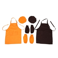 6 Piece Children's Apron Chef Hat Sleeves  Adjustable Apron Bib Kitchen Apron with Large Pockets Cooking Baking and Painting Kid Aprons     -