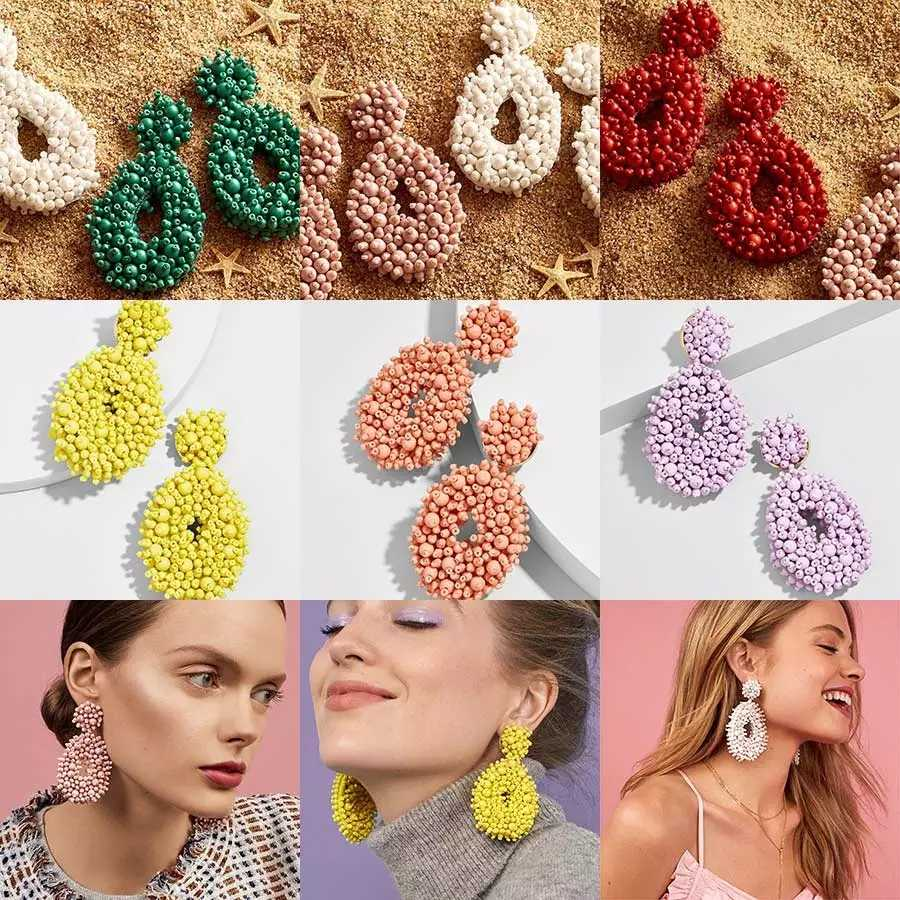 Qingwen 2019 Women Fashion Earring Boho Ethnic Colorful Large Big Dangle Drop Earrings Beads Tassel ZA Earrings Jewelry Wedding