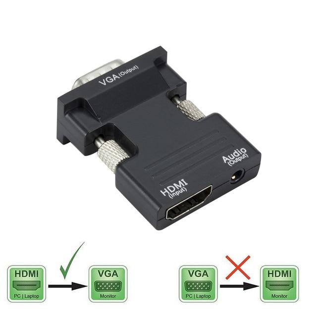 HDMI Femmina a VGA Maschio del Convertitore con Audio Adapter Supporto 1080P Uscita Del Segnale per il Multimedia Computer Portatile Del PC TV Monitor proiettore