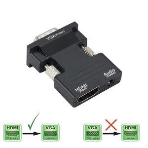 Image 1 - HDMI נקבה ל vga זכר ממיר עם אודיו מתאם תמיכה 1080P אות פלט עבור מולטימדיה מחשב נייד טלוויזיה צג מקרן