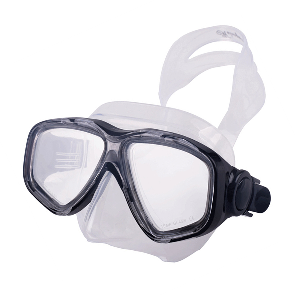 Silicone Diving Mask Tempered Glass Lens Wide View for Scuba Diving, Snorkeling, Freediving,Swimming - Blue,Black,Yellow,Pink