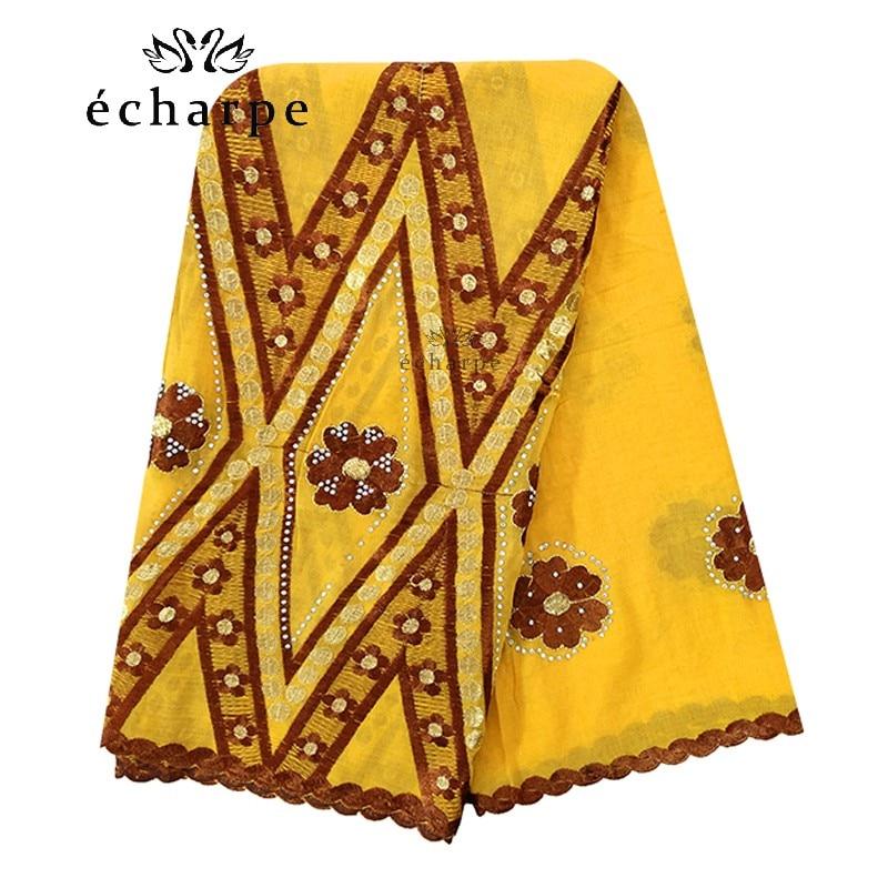 Image 5 - 100% Cotton Scarf African Women Big Scarfs Muslim Women  Embroidery Hijab Scarf Twill Design Headscarf EC123Islamic Clothing