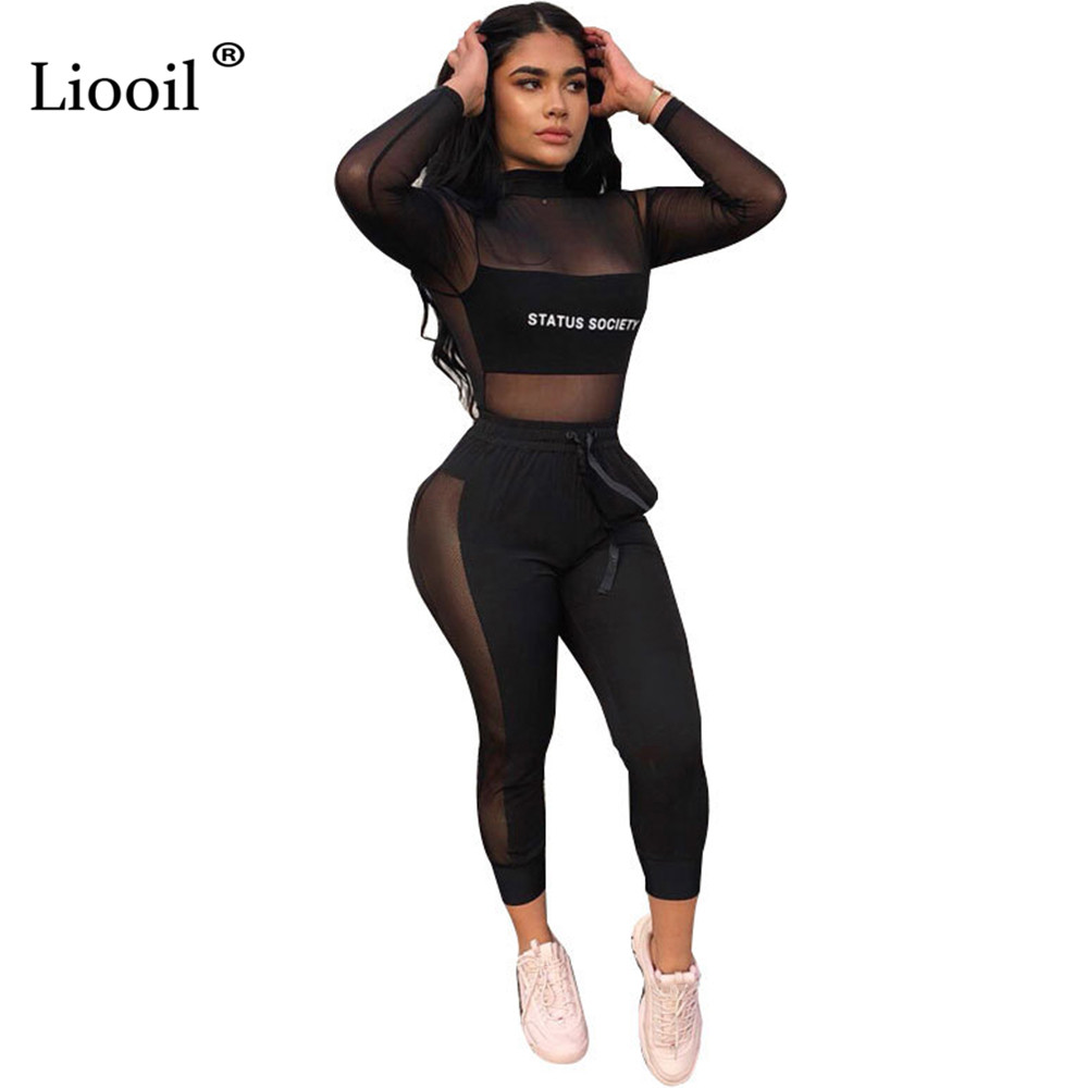 Liooil Plus Size Black Letter Print Two Piece Mesh Sheer Set Party Club Outfits For Women Long Sleeve Turtleneck Sexy Top+Pants