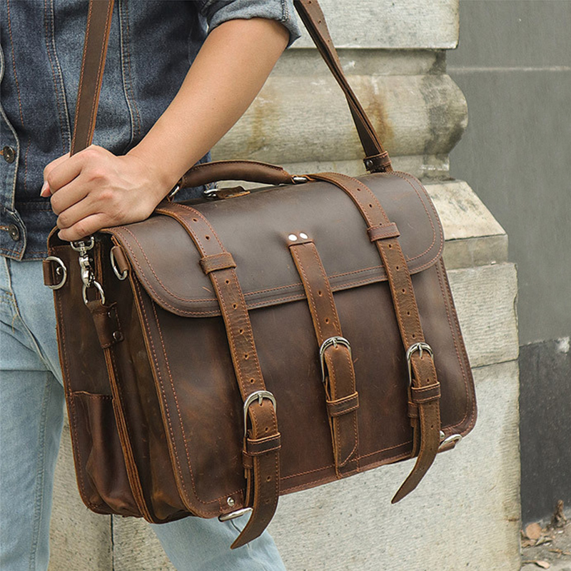 Big Capacity Thick Crazy Horse Leather Men's Briefcase 3 In 1bag Genuine Leather Bagpack Travel Daypack Cow Leather Shoulder Bag