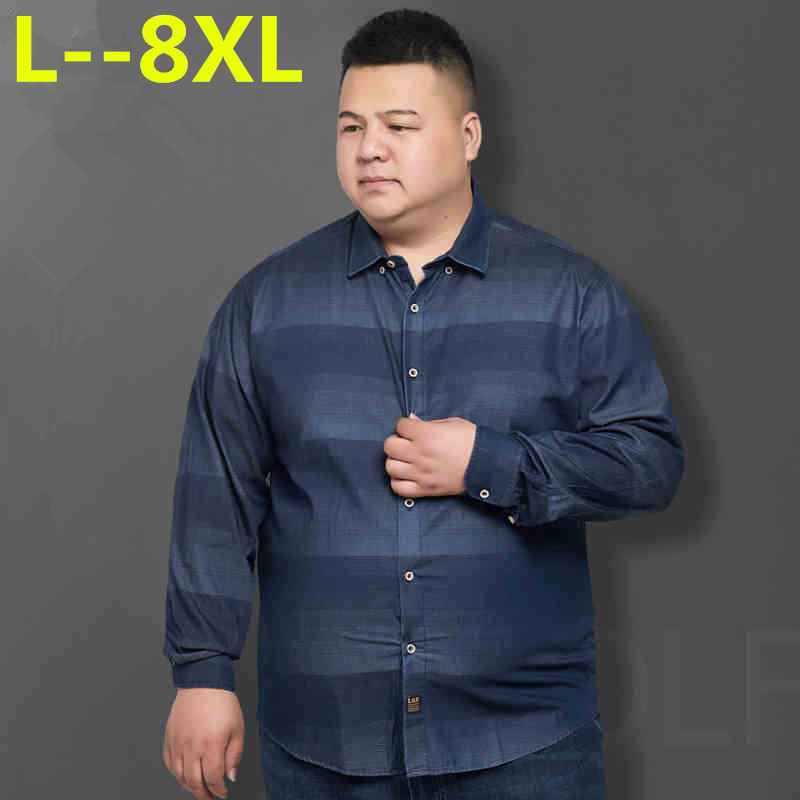Plus 8XL 6XL 5XL  Spring Autumn Features Shirts Men Casual Shirt New Arrival Long Sleeve Luxury Casual Slim Fit Male Shirts