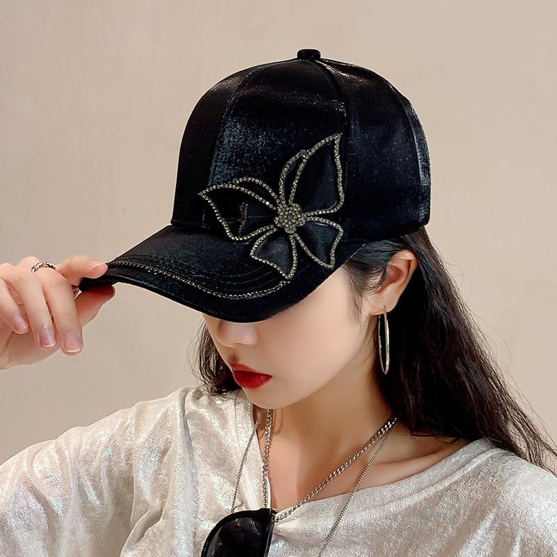 Fashion Korean Version Black Peaked Cap Baseball Cap With Rhinestone Butterfly Sunhat Luxury Woman Hat Female Internet Sensation
