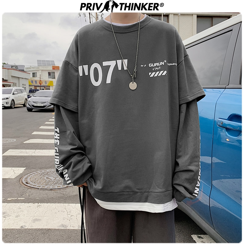 Privathinker Harajuku Oversized Hoodie Men 2019 Fashion Letter Print Man Casual Sweatshirts Fake Two Piece Streetwear Pullovers