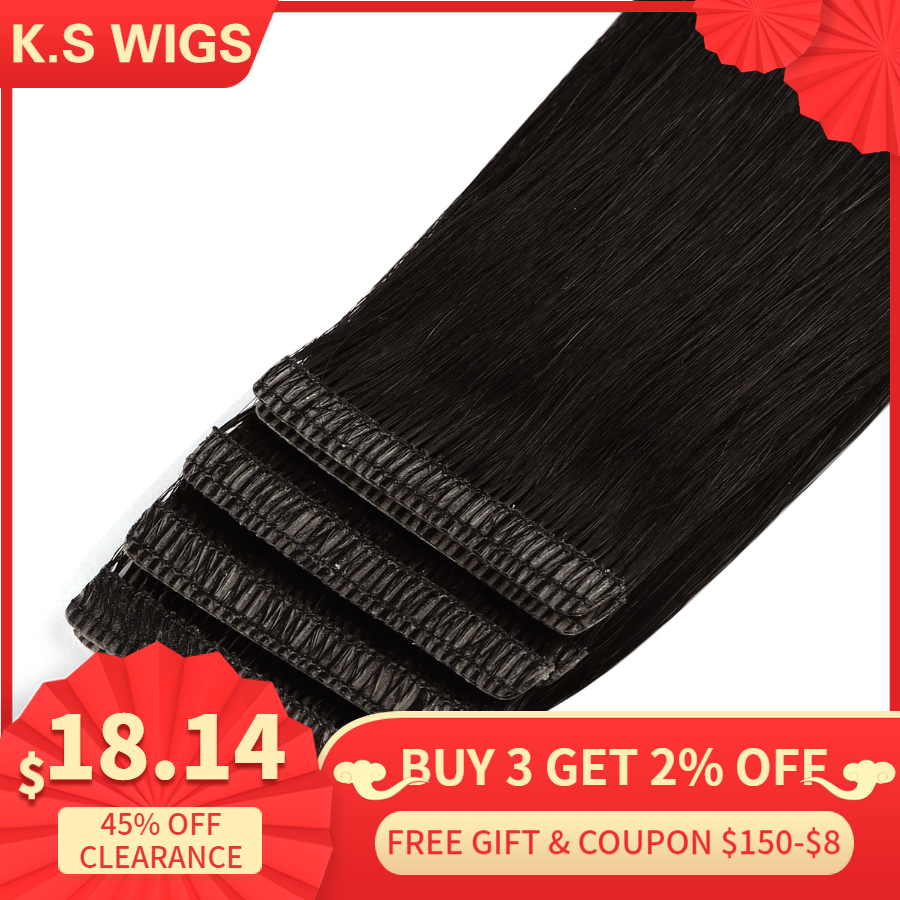 K.S WIGS 10pcs Straight Remy Skin Weft Human Hair Double Drawn Love Line Invisible Tape In Hair Extensions 16'' 20'' 24''