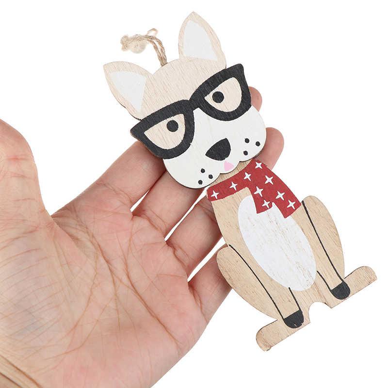 1PC Holz Hund Weihnachten Ornamente Anhänger DIY Holz Handwerk Hängen Weihnachten Party Dekoration Weihnachten Baum Ornament Kinder Geschenk