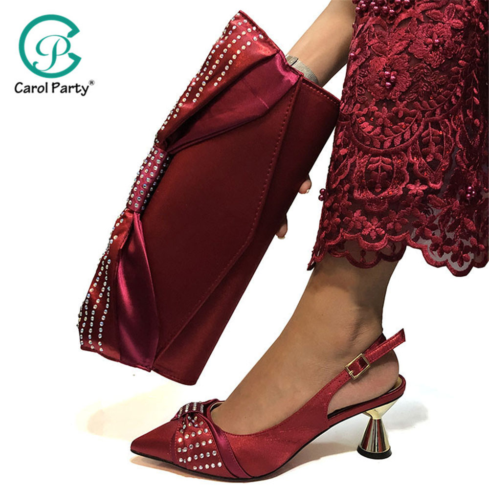 New Wine Color Fashion Italian Shoes With Matching Clutch Bag Hot African Big Wedding With High Heel Shoes And Bag Set Party