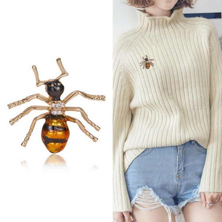 Alla moda di Cristallo Spilla Spille Costume Distintivo Del Partito Dei Monili del Regalo Nero giallo formica
