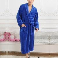 Man And Woman Gown Bathrobe Winter Long Flannel Robe Women Robes Sleepwear Female Sexy Cotton Pajamas