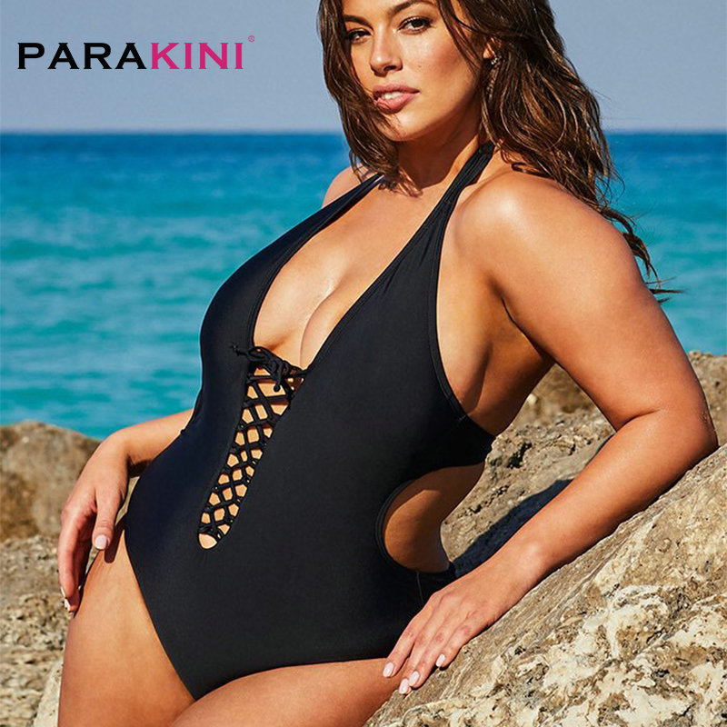PARAKINI Strap Cold Shoulder Swim Suits Black Ruffle Overlay One Piece Swimwear 2020 New Plus Size Swimwear Women Bathing Suit 3