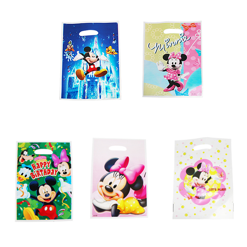 20pcs Cartoon Children Minnie Mickey Gift Bag Donald Duck Disney Pearl Pearl Film Children Birthday Party Dress Up Supplies image