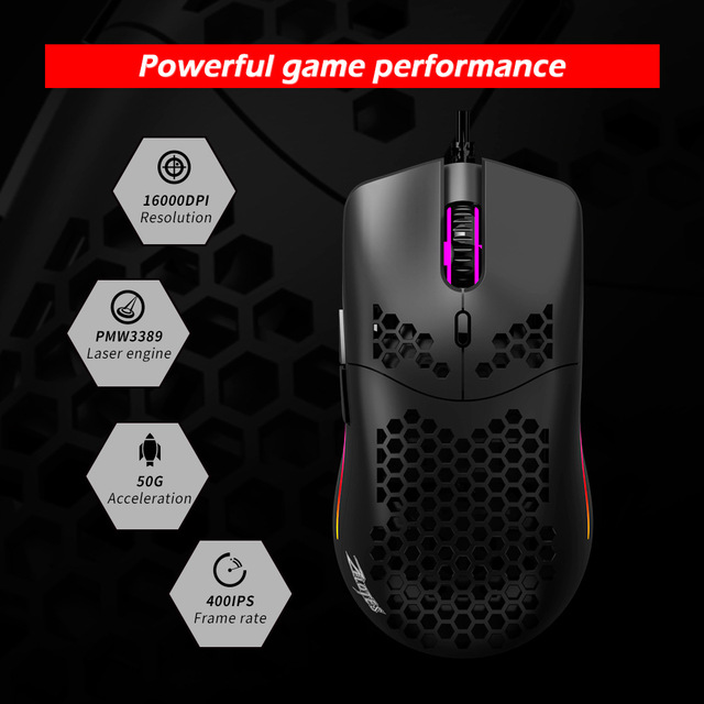 Newest 16000 DPI PMW3389 Gaming Mouse RGB Marquee Belt 7 Button Laser Mice 1.8m USB Wired Gamer Mouse For Laptop Computer PC 5