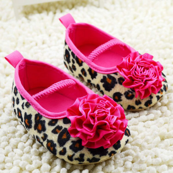 Kids Girl Leopard Baby Shoes Peony Flower Infant Toddler Crib Shoes
