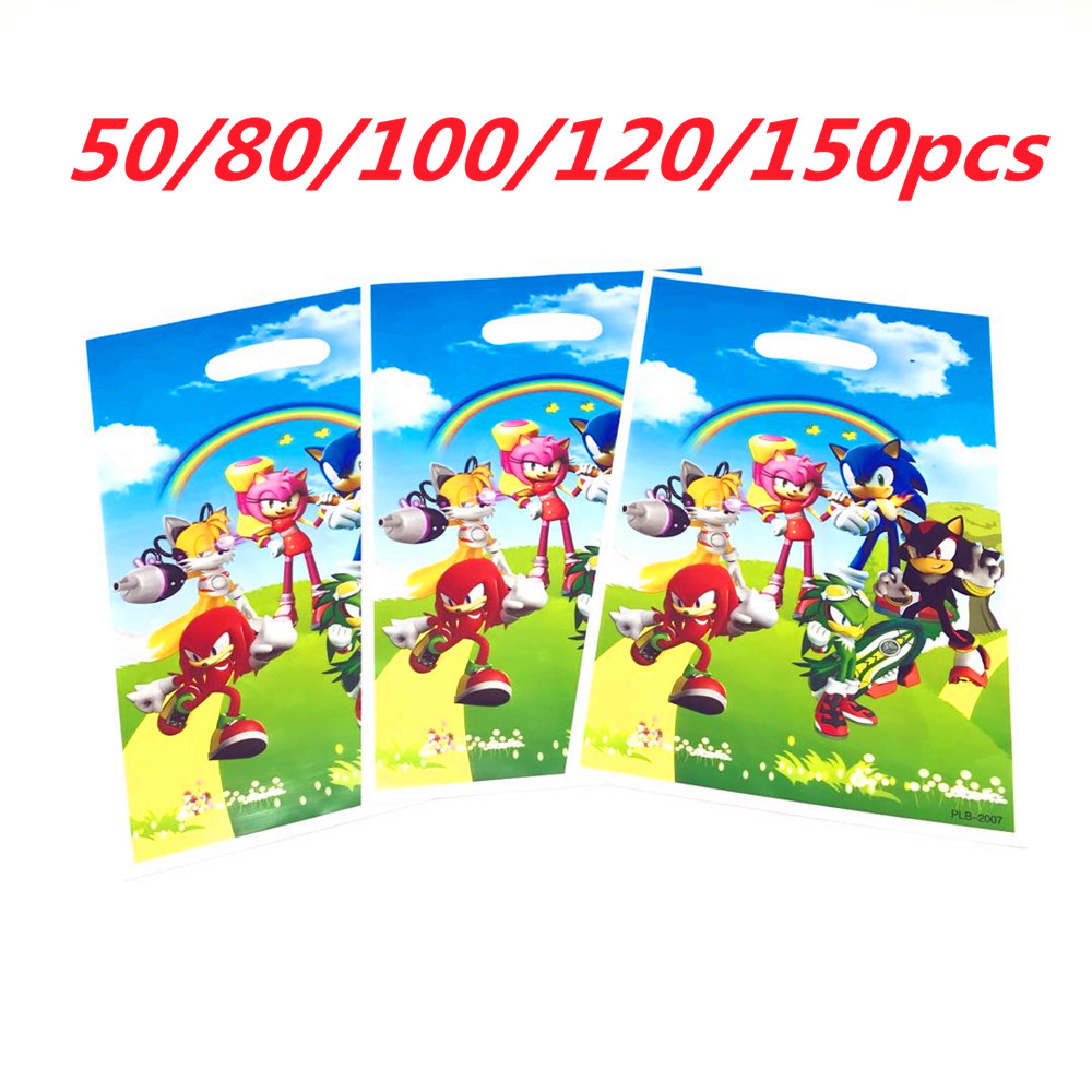 50/200 Pcs Sega Sonic The Hedgehog Super Hero Theme Plastic Candy Bags Boys Kids Birthday Party Gift Supplies Wedding Decoration