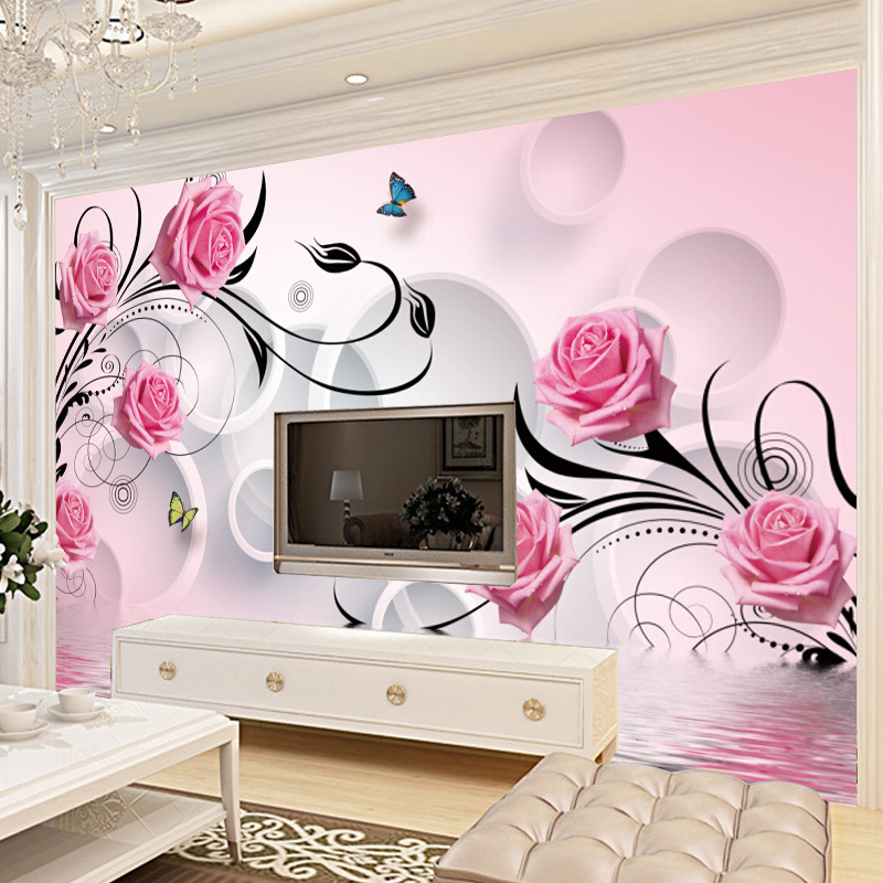 3D Large Mural Background Of Television In The Drawing Room Wallpaper Seamless Nonwoven Fabric Roses Mural Wallpaper
