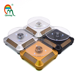 LED white Multicolor light rotating display table battery powered or solar-powered display turntable