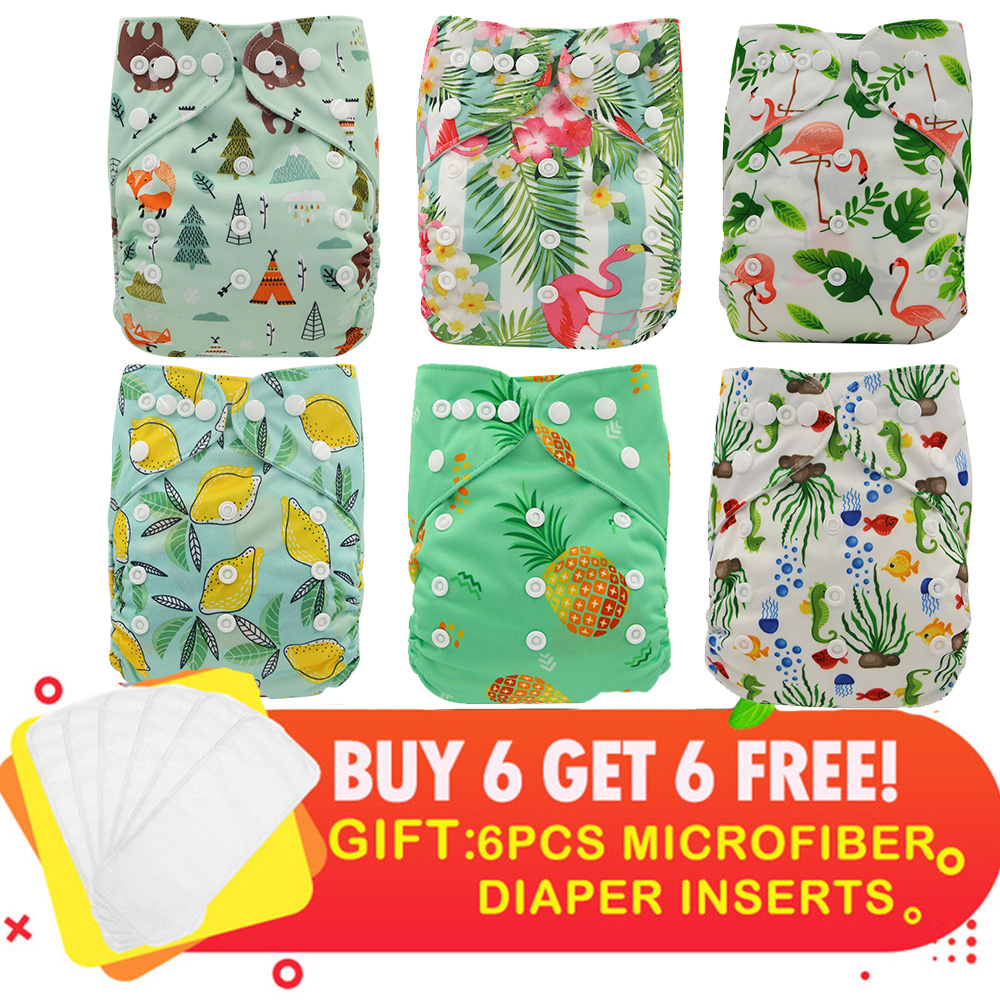Ohbabyka Waterproof Baby Cloth Diapers One Size Adjustable Washable Reusable Diaper For Baby Girls And Boys 6 Pack + 6 Inserts