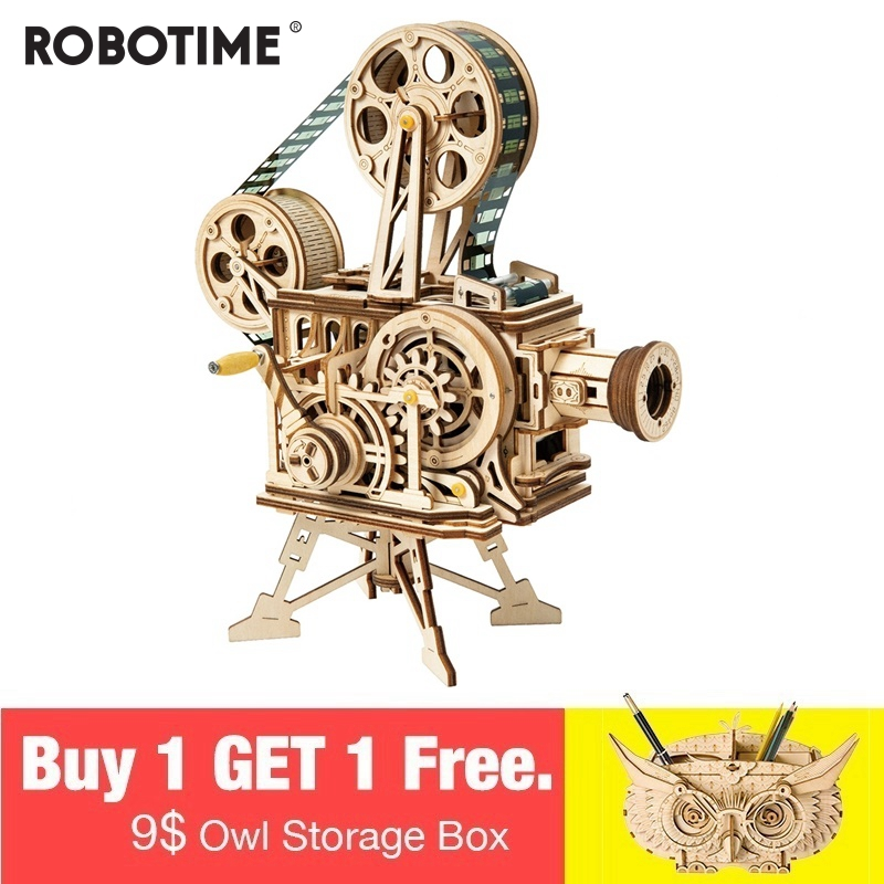 Robotime 183pcs Vintage Diy 3D Hand Crank Film Projector Wooden Puzzle Game Assembly Vitascope Toy Gift for Children Adult