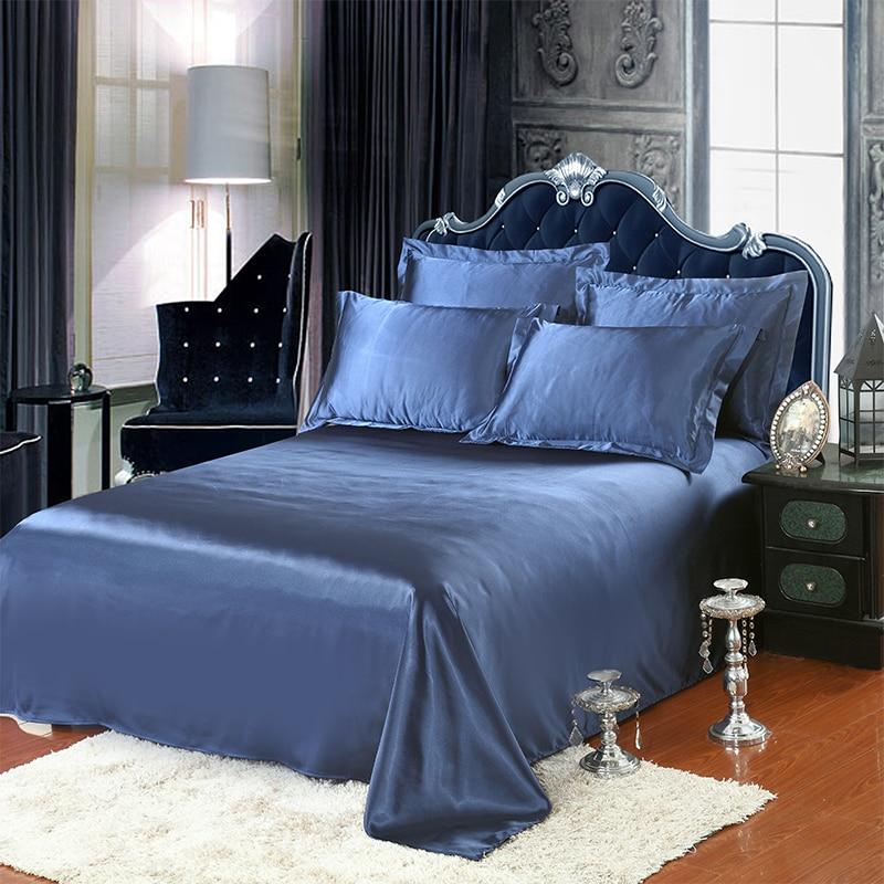 Luxury Satin Silk Bed Sheet Solid Mattress Protector Bedsheet White Black 1PCS Flat Sheet Silky Queen