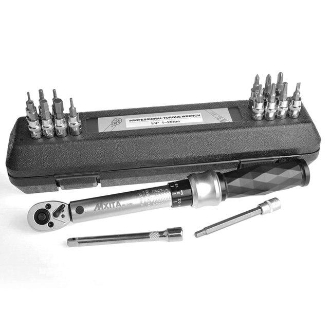 1/4 pouces acier clic réglable clé dynamométrique outils kit ensemble vélo vélo réparation clé main outil ensemble |