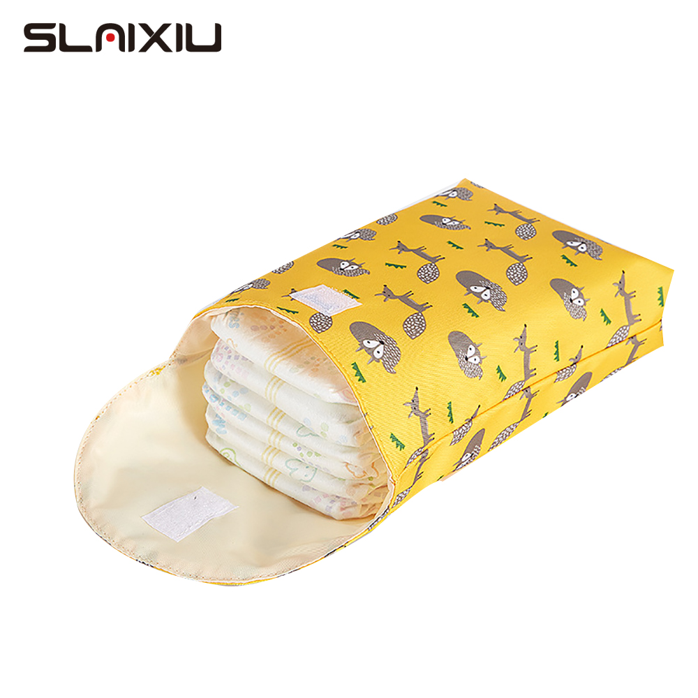 SLAIXIU Diaper Storage Bag  Storage Bag Travel Nappy Bag Reusable Waterproof Fashion Prints Wet/Dry Bag