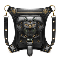 PU Steampunk Funny Pack Drop Leg Motorcycle Delivery Bags Waist Belt Bag Waterproof