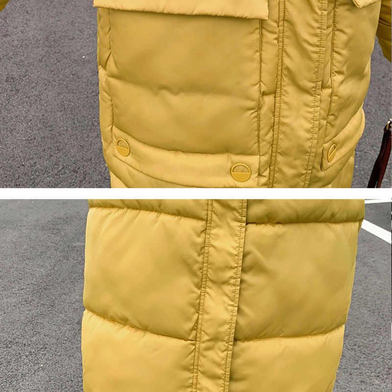 Зимняя Куртка пуховая парка Новинка 2019 г. Зимняя Длинная женская Свободная куртка выше колена хлопковая стеганая куртка сезон негабаритный хлеб 902