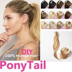 Wrap Around Ponytail Hair Pieces Human Hair 16-20