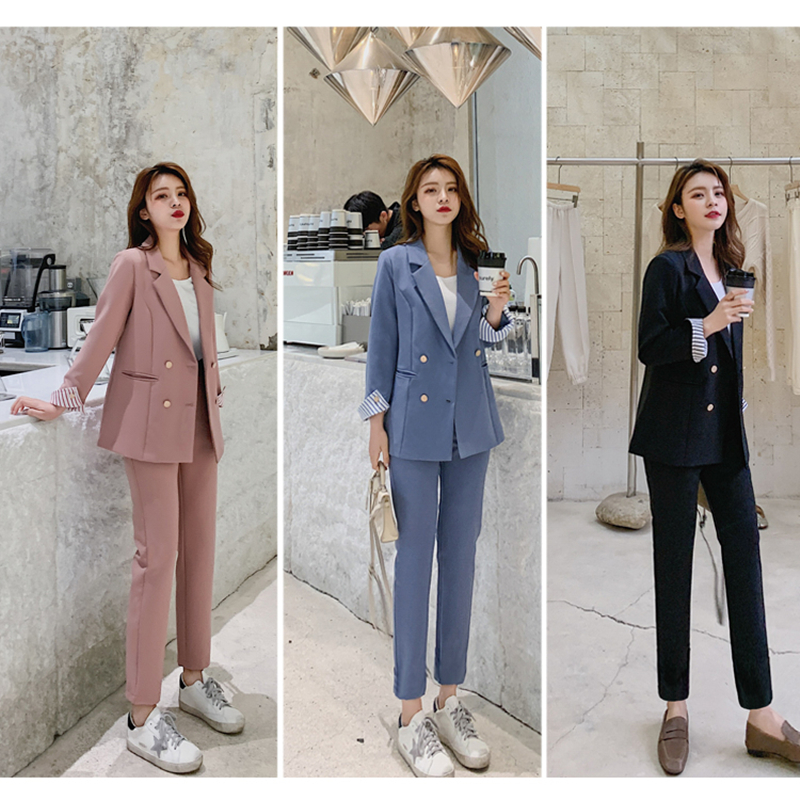 New Fashion Spring Summer Women's OL Fashion Blazer Slim Pants Two-piece Set Suits Female