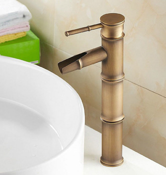 Bamboo Style Vintage Retro Antique Brass Bathroom Sink Basin Mixer Tap Faucet One Hole Single Handle mnf017