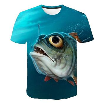 2020 summer new short-sleeved round neck T-shirt 3D printing fisherman casual street style for men and w