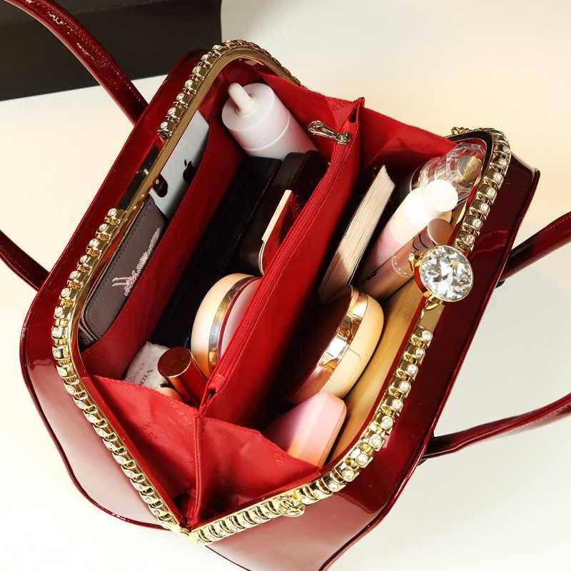 ICEV luxus handtasche frauen tasche designer hohe qualität stereotyp boston patent leder handtaschen damen abend kupplung top griff