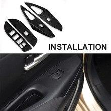 JEAZEA 4pcs Carbon Fiber Plastic Door Window Lift Switch Button Frame Cover Trim Panel Sticker Fit for Toyota Corolla 2019 недорого