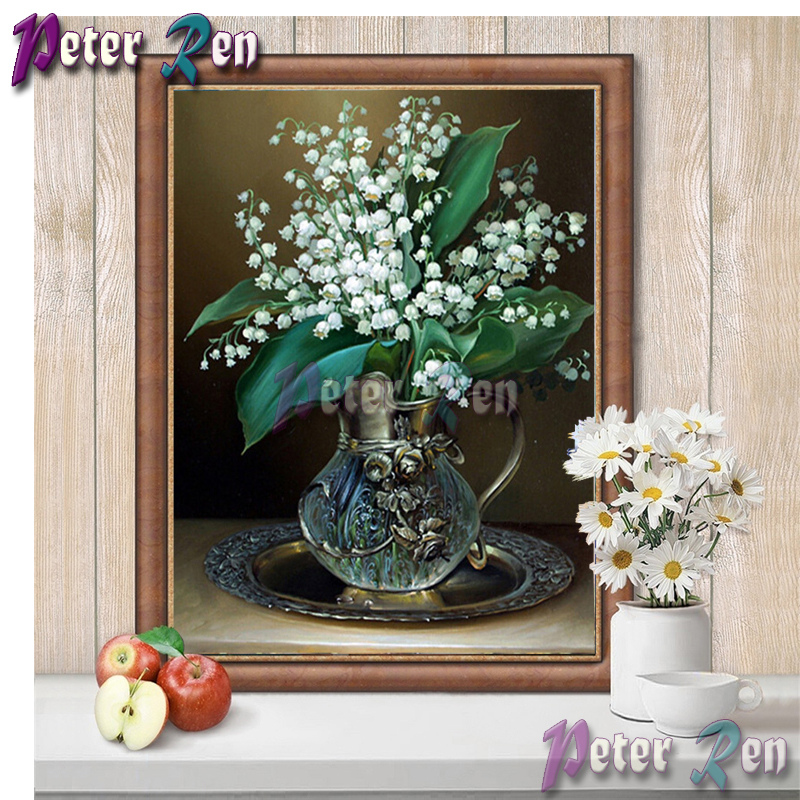 5d Diamond painting White flower vase Diy full Square/round Rhinestones cross stitch embroidery picture Handmade home decoration