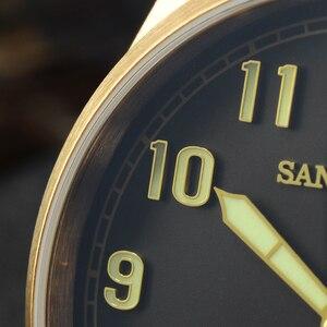 Image 4 - San Martin DIVER ดีบุก Retro Bronze ผู้ชายอัตโนมัตินาฬิกา Fluoro Rubber Sapphire ดูผ่านกรณีกลับส่องสว่าง