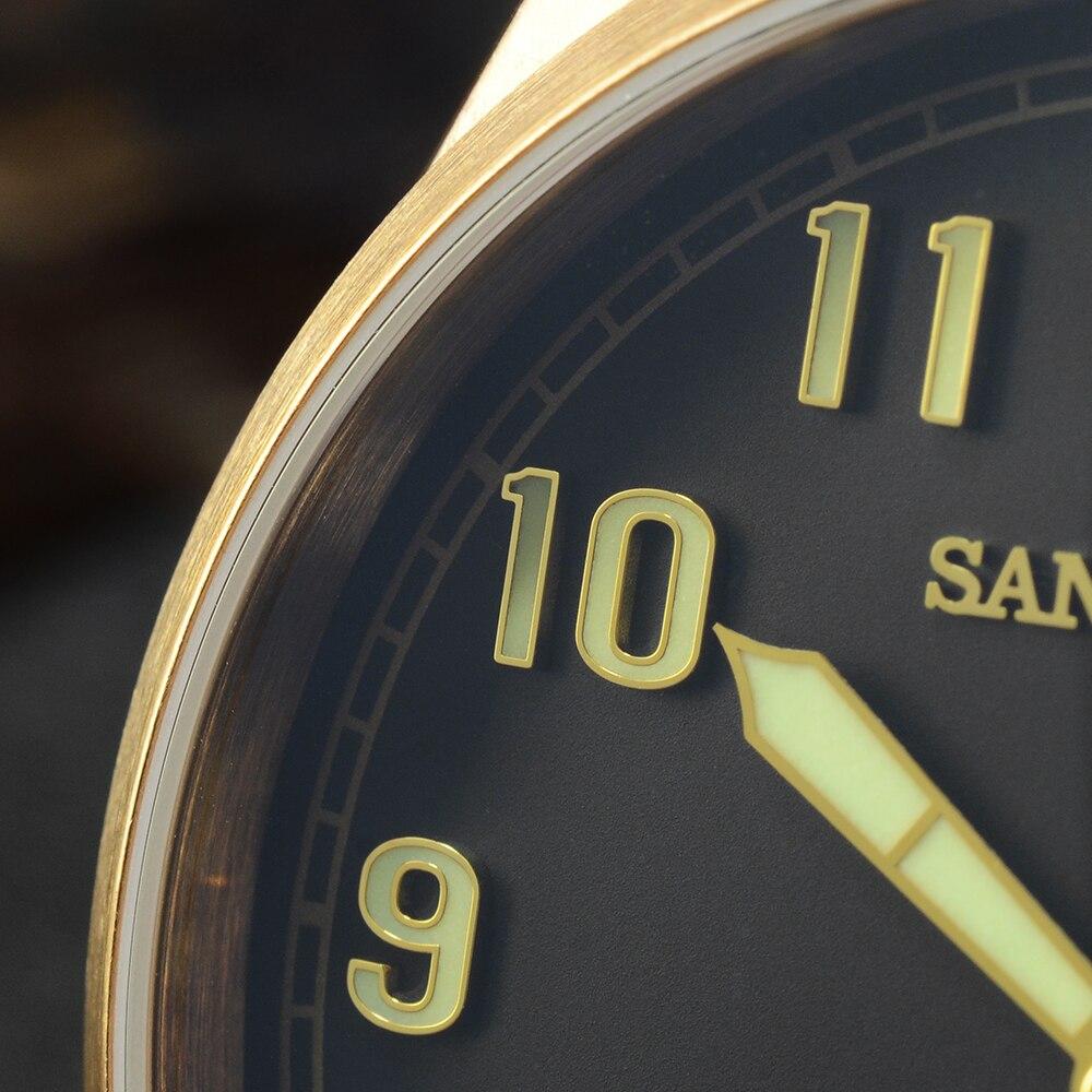 Image 4 - San Martin Diver Retro Tin Bronze Men Automatic Mechanical Watch Fluoro Rubber Sapphire See through Case Back LuminousSports Watches   -