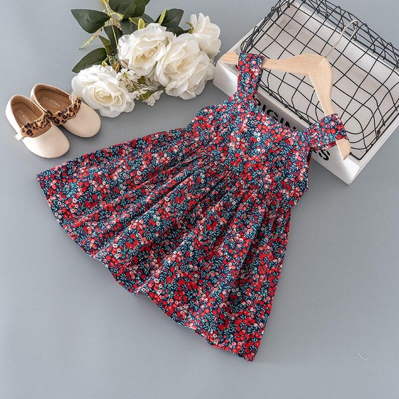 Летняя детская одежда для девочек, платье на бретельках с цветочным принтом для маленьких девочек, одежда, детское пляжное тонкое Крутое платье, одежда для 1, 2, 3, 4, 5, 6 T