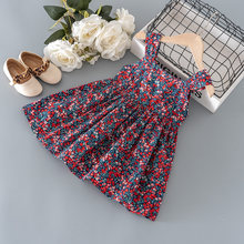 Summer kids girls clothing sling floral dress for toddler girls clothes outfits baby beach thin cool dress 1 2 3 4 5 6 T cloth