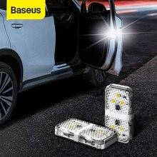 Baseus luz de aviso de segurança para porta, 2 peças, para abertura de carro, luzes de aviso, à prova d' água, 6 led, adesivo aberto