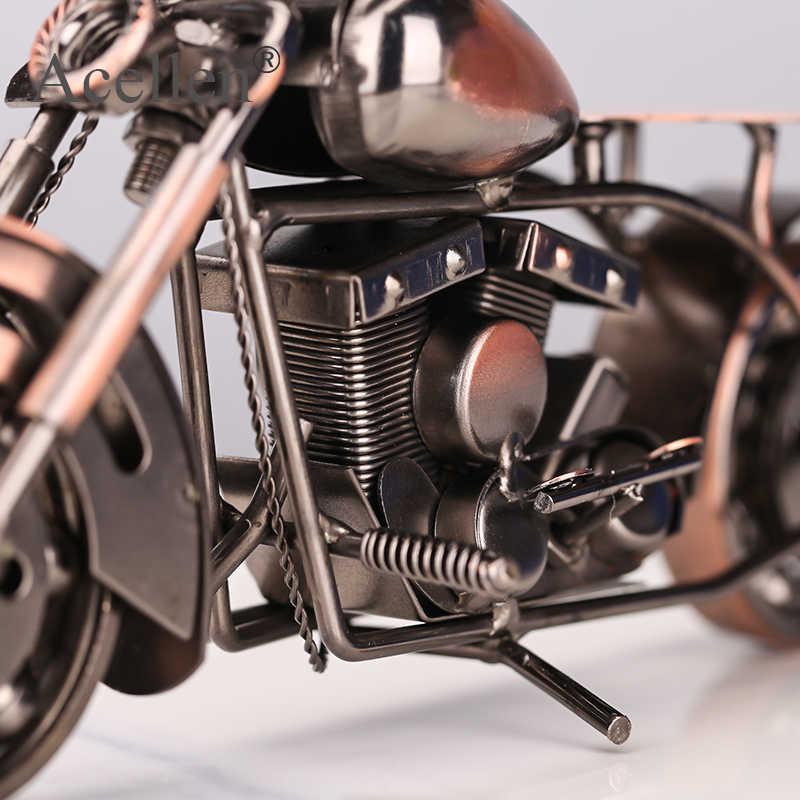 Motorcycle Model Retro Motor Beeldje Metalen Decoratie Handgemaakte Ijzer Motor Prop Vintage Home Destop Decor Kid Speelgoed
