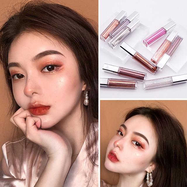10 Colors Liquid Eye Shadow Diamond Glitter Eyeshadow Brush Pen Waterproof Long Lasting Shimmer Eye Shadow Stick Makeup Cosmetic 1