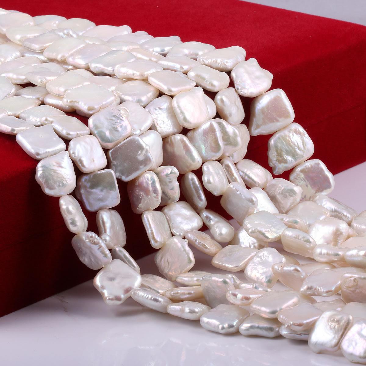 Natural de água doce pérola contas forma quadrada solto grânulo para diy pingentes femininos brincos jóias fazendo