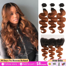 Brown Bundles Closure Frontal Body-Wave Ombre Brazilian 13x4 SOKU with 13x4/Soku/Brazilian/Body-wave